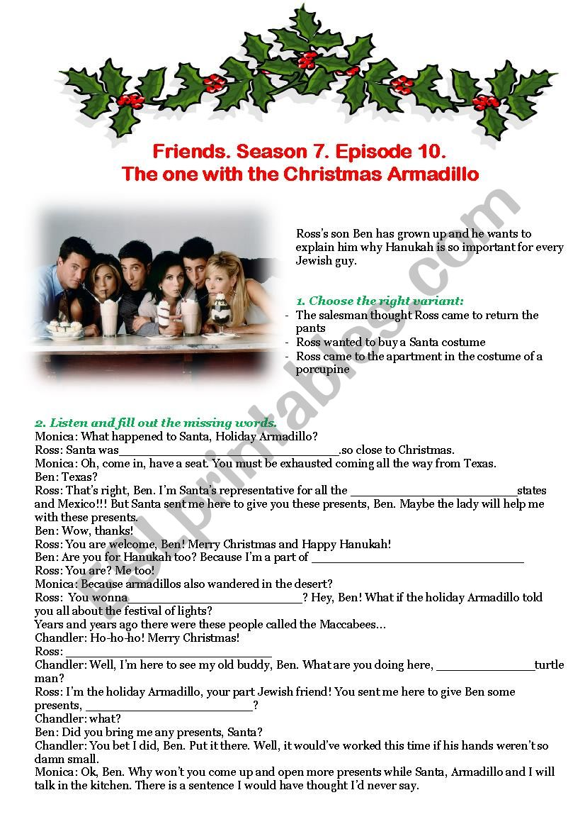 Christmas Armadillo Friends.Friends Season 7 Episode 10 The One With The Christmas