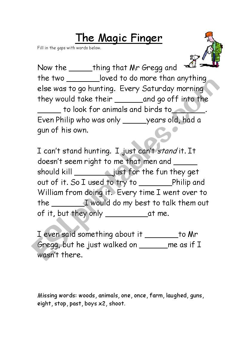 The magic finger - ESL worksheet by Rosabv