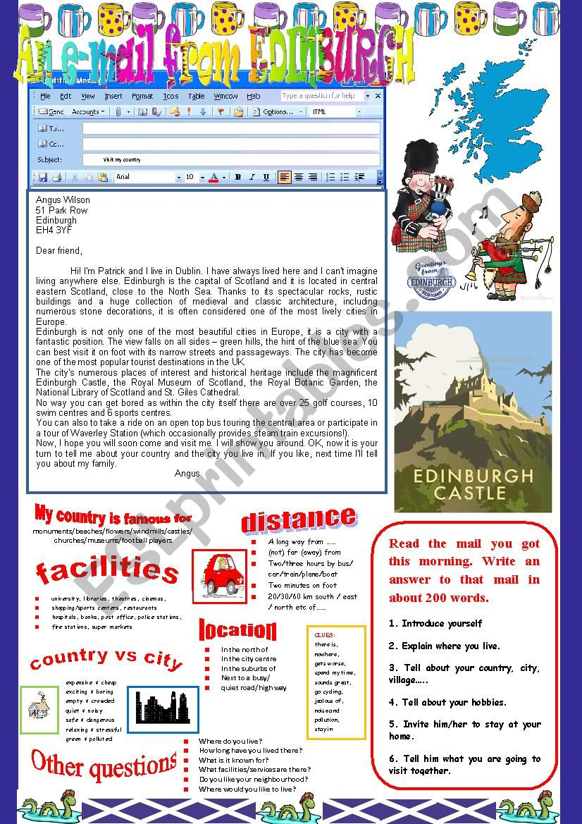 An e-mail from Edinburgh. Reading and semi-guided writing.