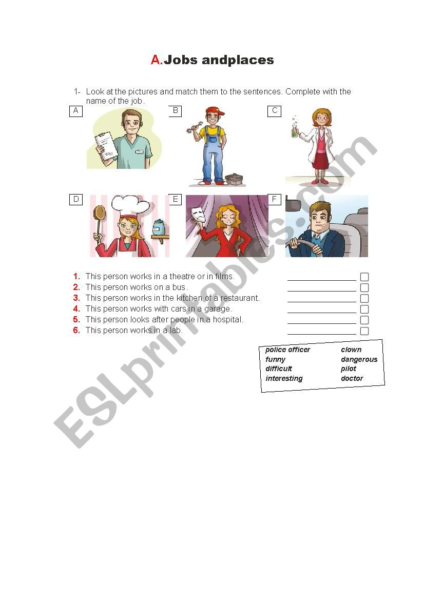 Jobs and places worksheet