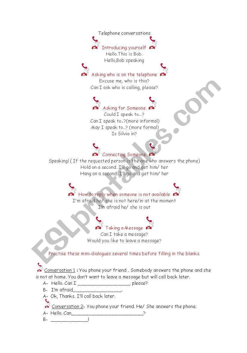 Telephone Conversations - ESL worksheet by Starfish