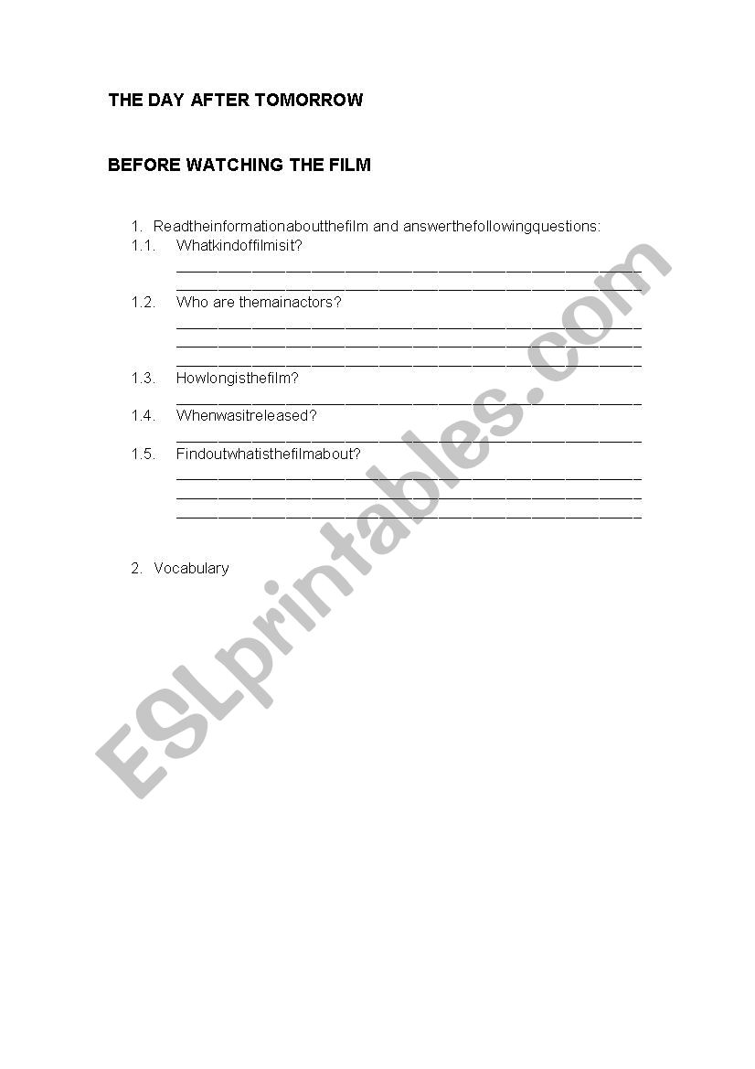 THE DAY AFTER TOMORROW worksheet