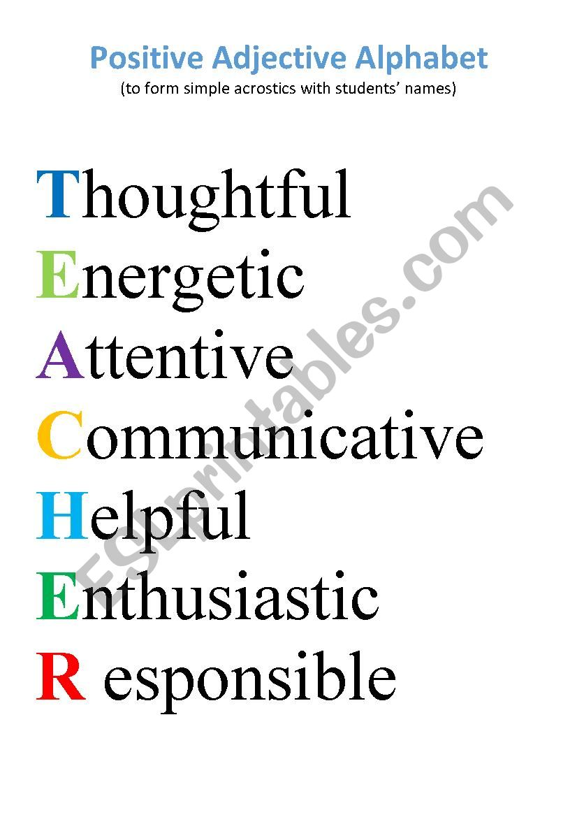 Positive Adjective Alphabet worksheet