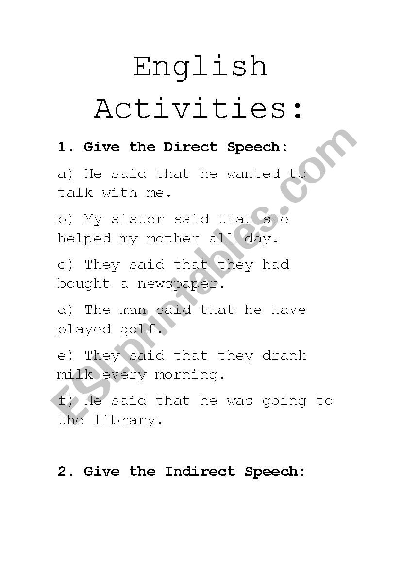 Direct and Indirect Speech activities