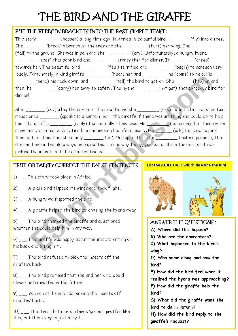 The Bird and the Giraffe worksheet