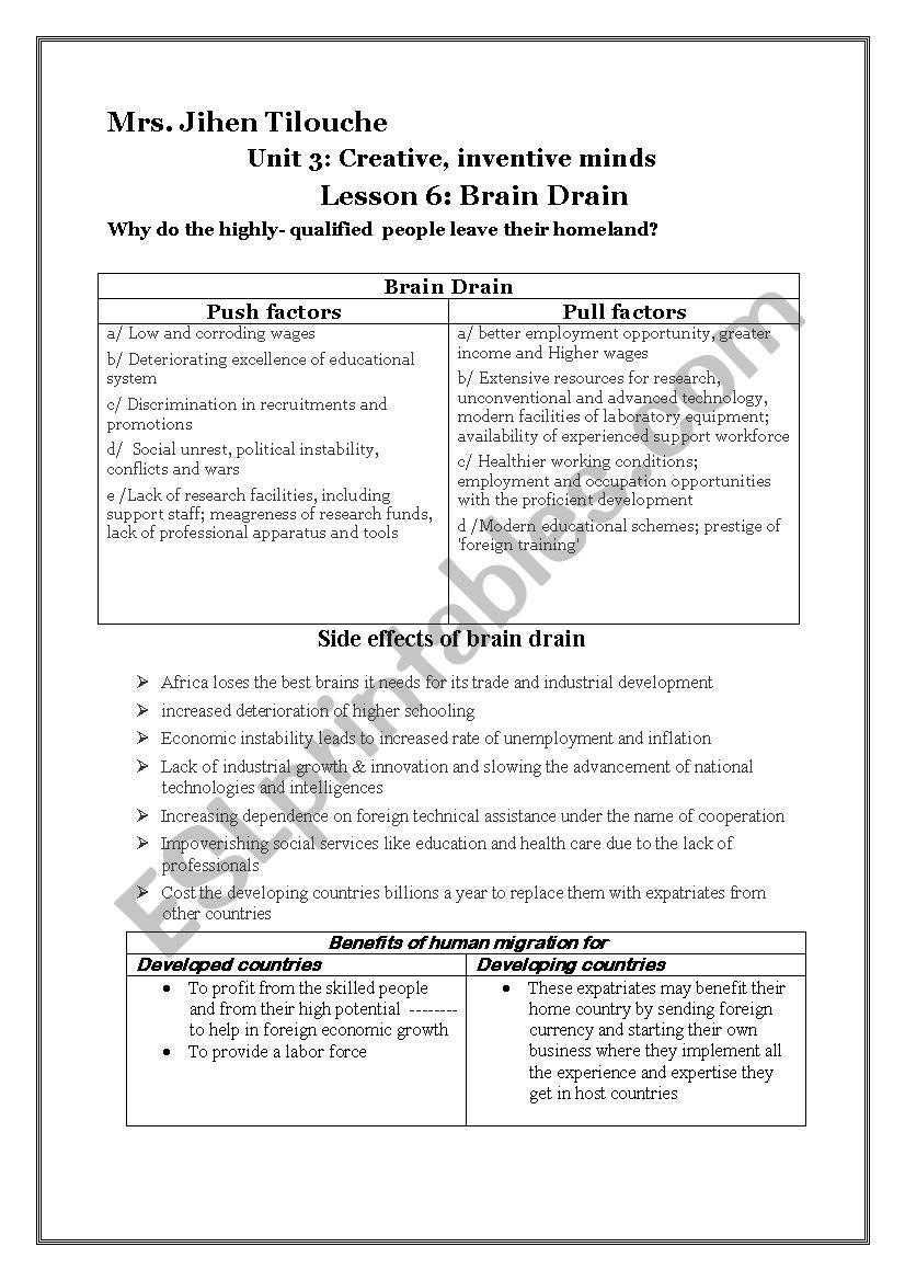 unit 3 /lesson 6: Brain Drain worksheet