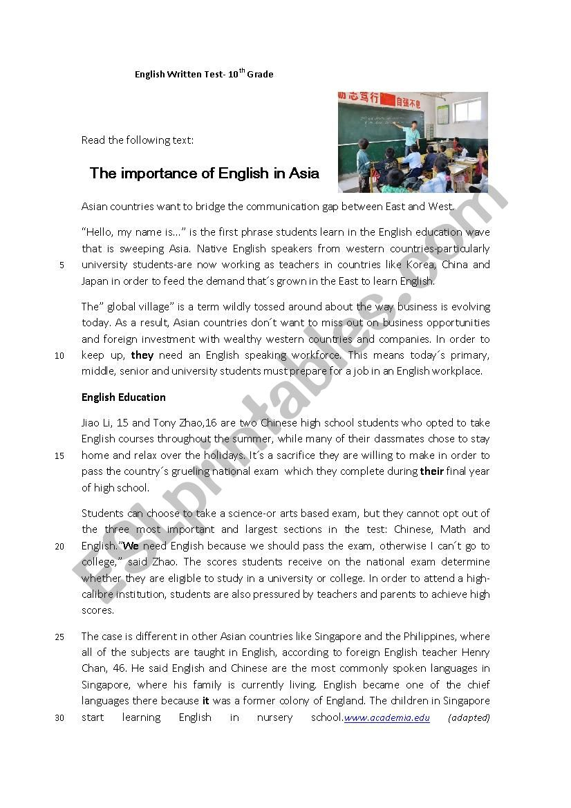 10th Grade Test-The importance of the English Language - ESL
