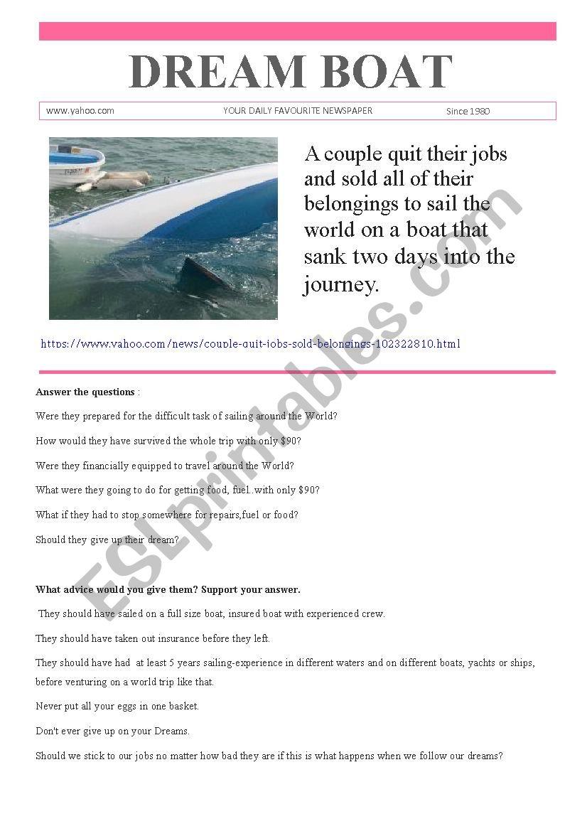 Dream Boat worksheet
