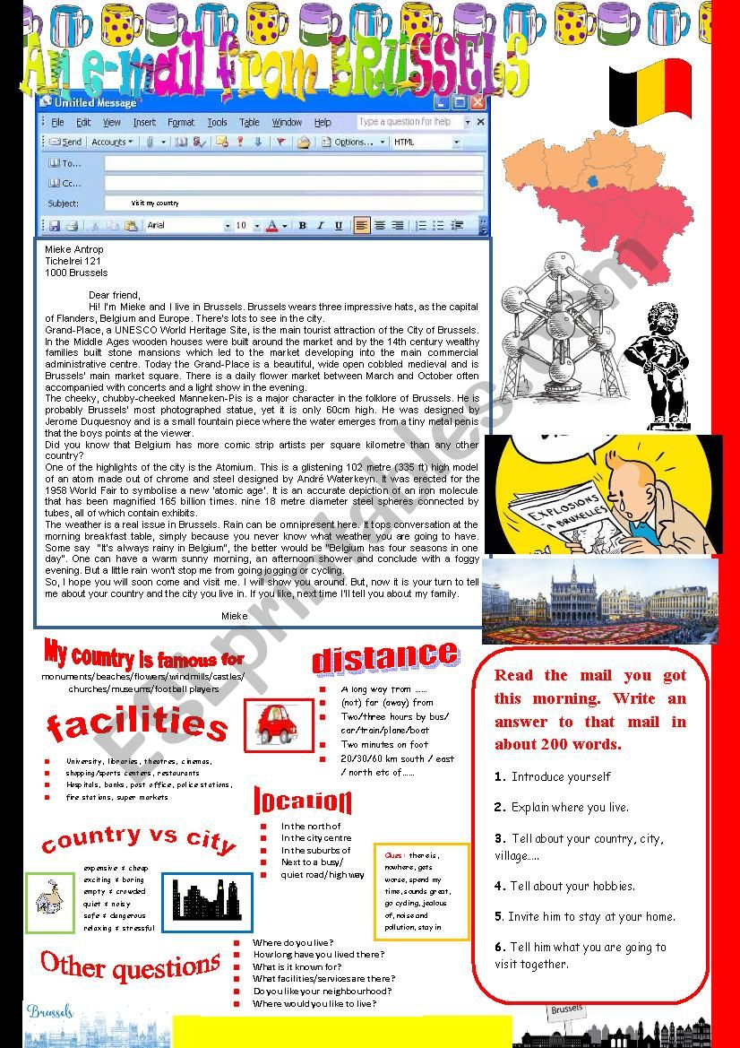 An e-mail from Brussels. Reading and semi-guided writing.
