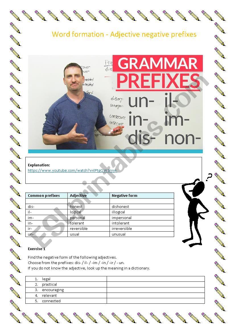Word formation, adjectives negative prefixes, dis, il ir, un, im, in (B1/B2)