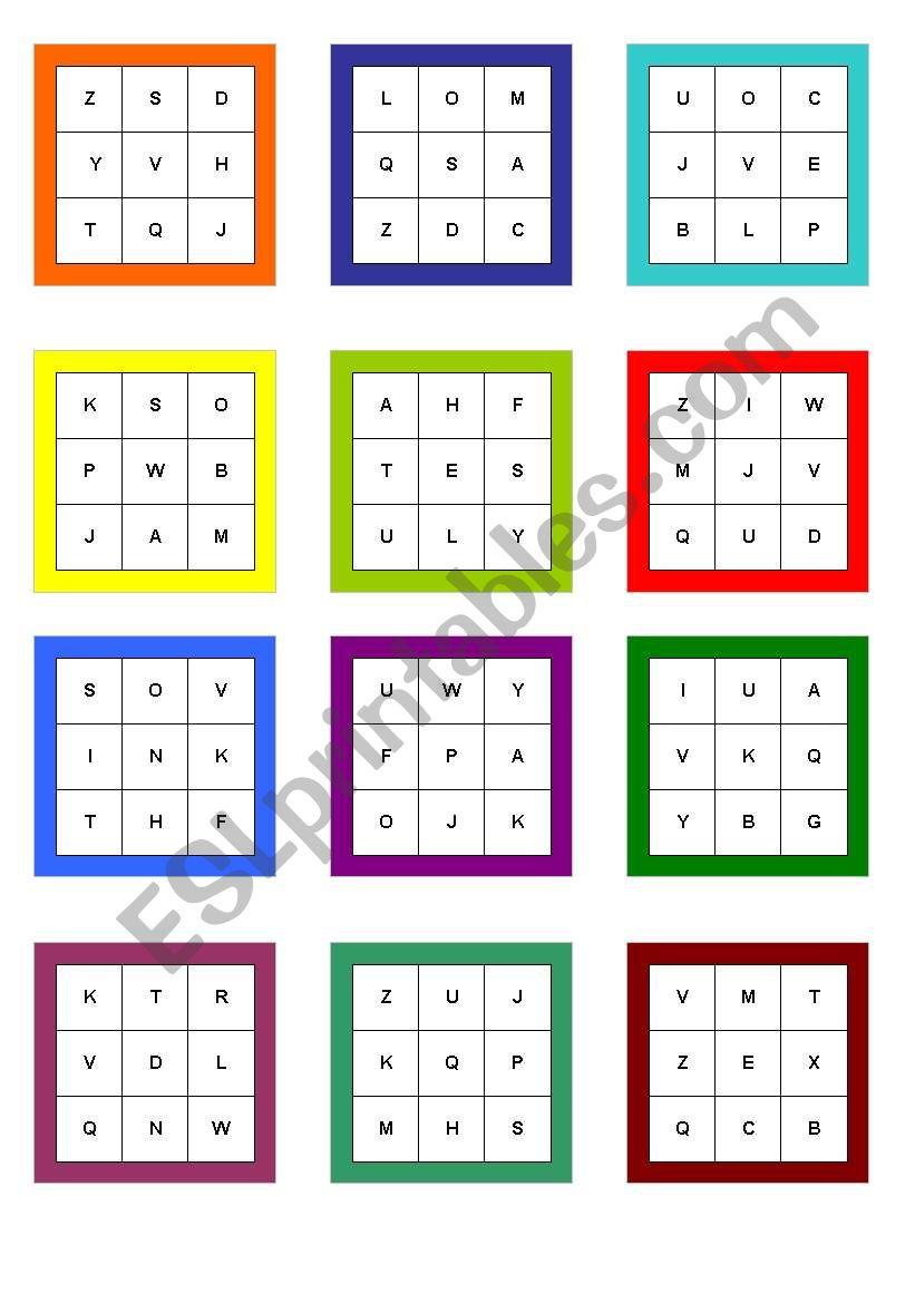 Alphabet bingo worksheet