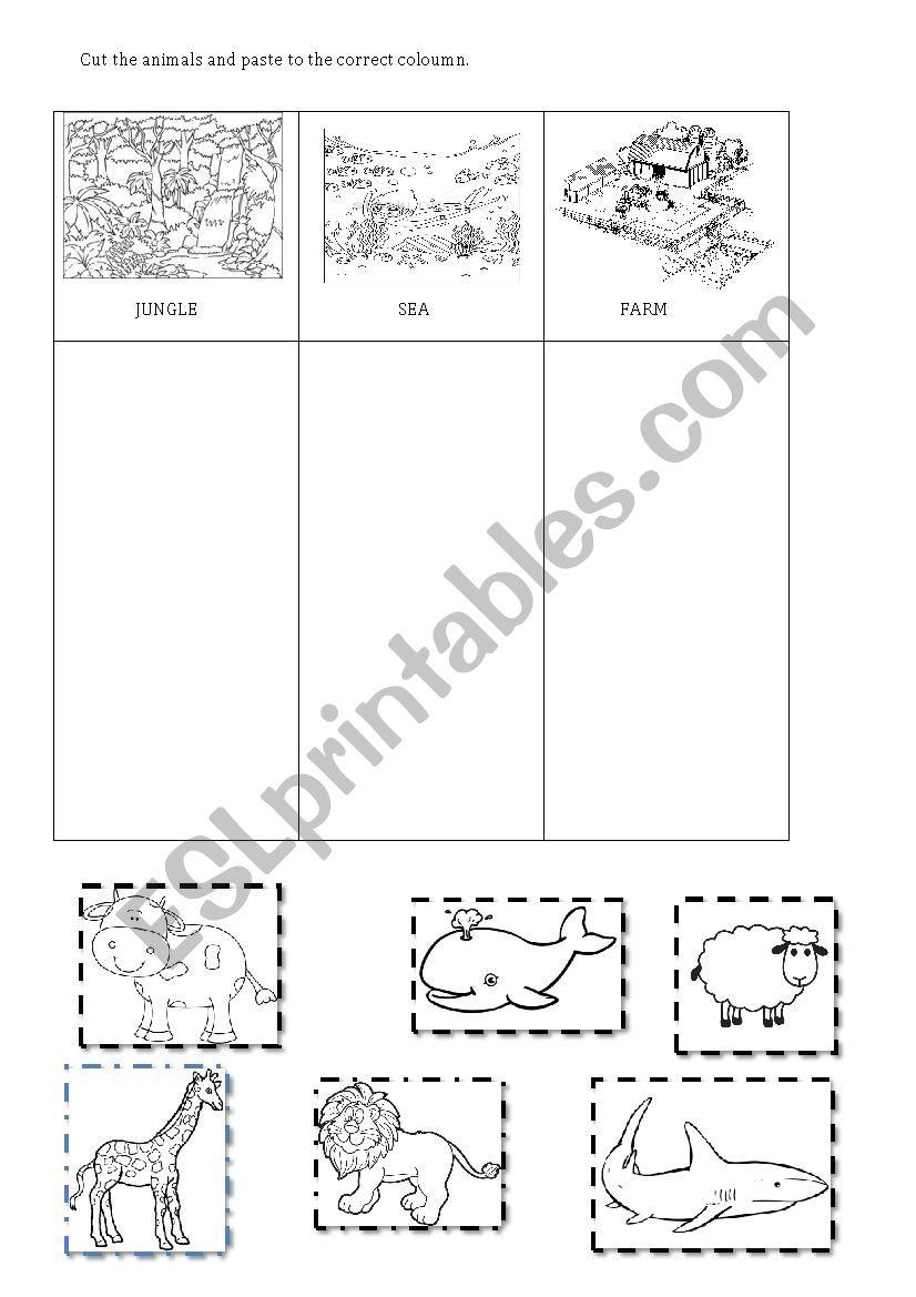 animal habitats esl worksheet by shequre. Black Bedroom Furniture Sets. Home Design Ideas