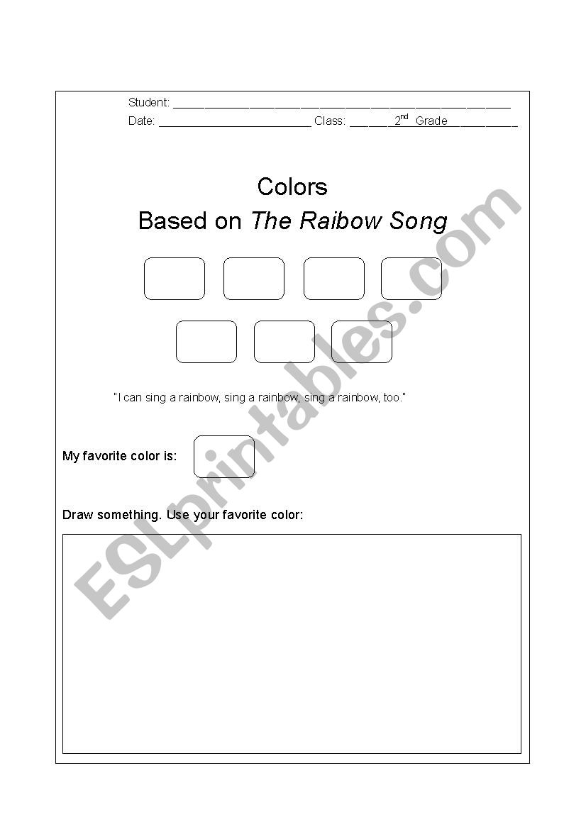 The Rainbow Song  worksheet