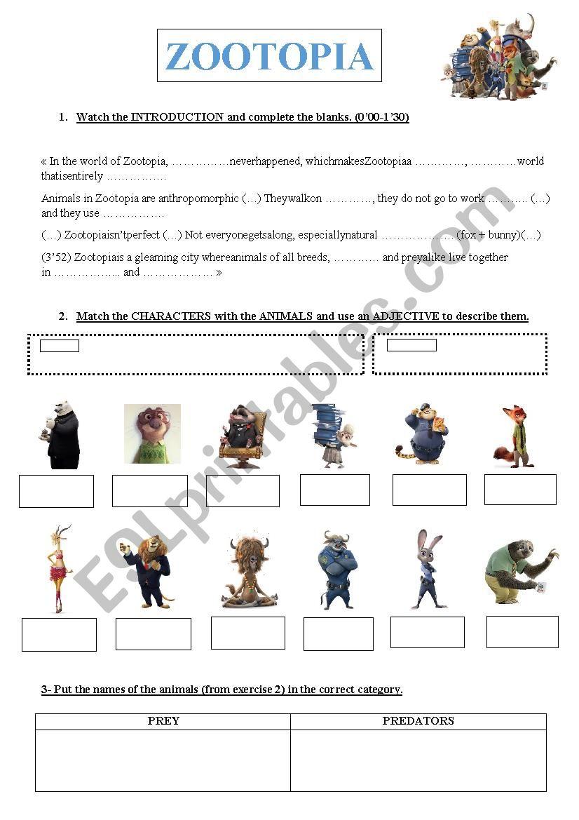 VIDEO ZOOTOPIA + Answer key - ESL worksheet by annevaleriemiche
