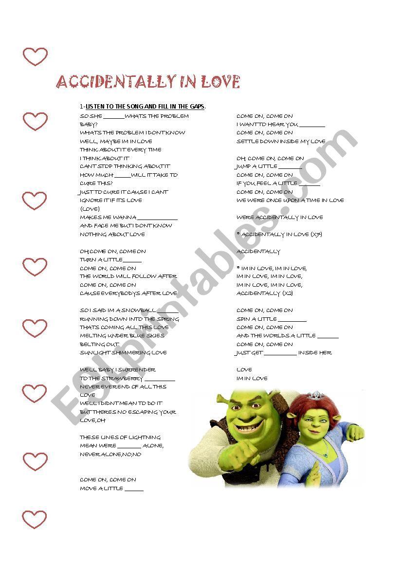 ACCIDENTALLY IN LOVE worksheet