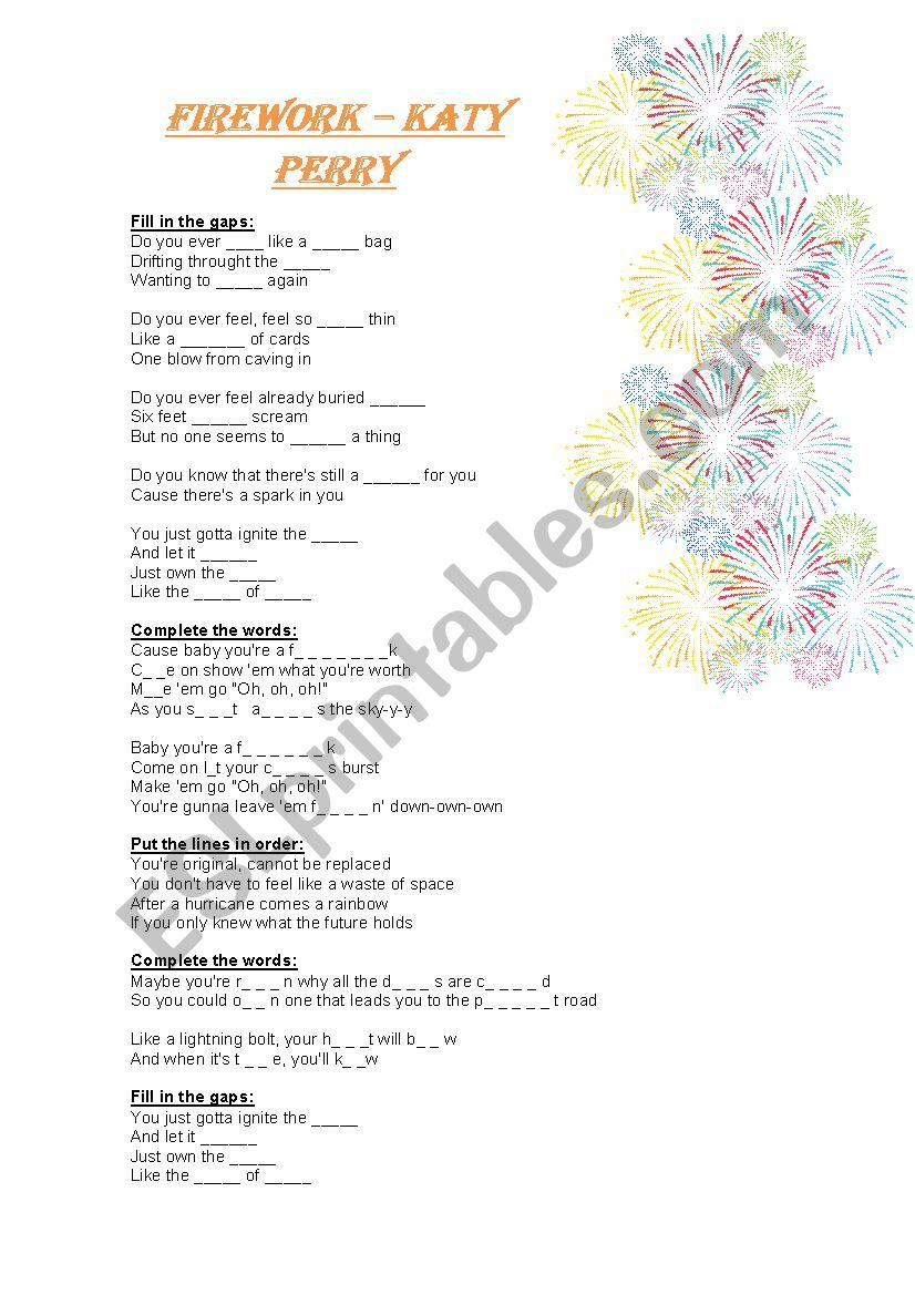 firework song by katy perry worksheet