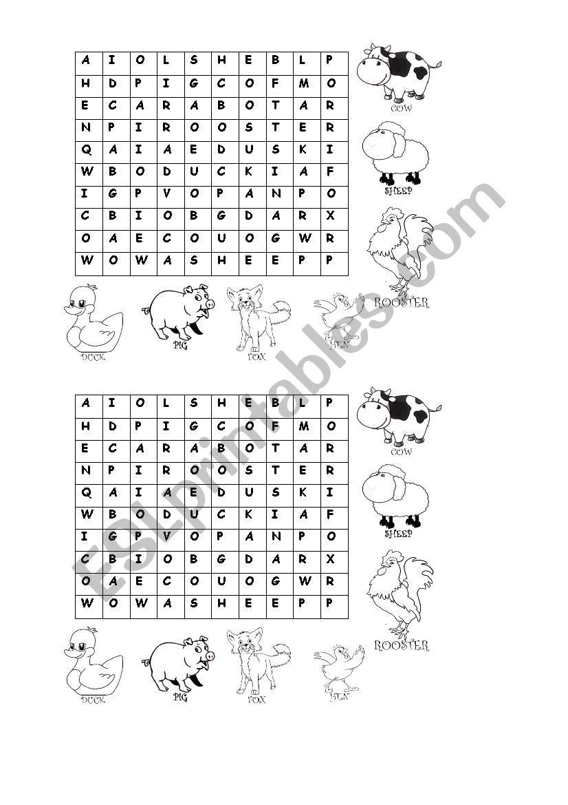 farm animals letter soup worksheet