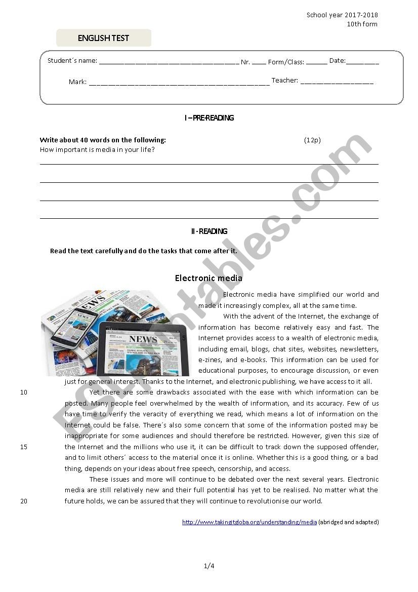 Test on Media 10th form  worksheet
