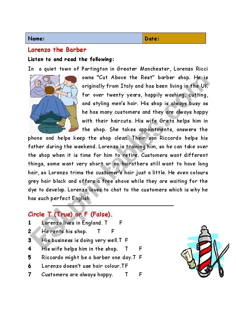 Lorenzo the Barber worksheet