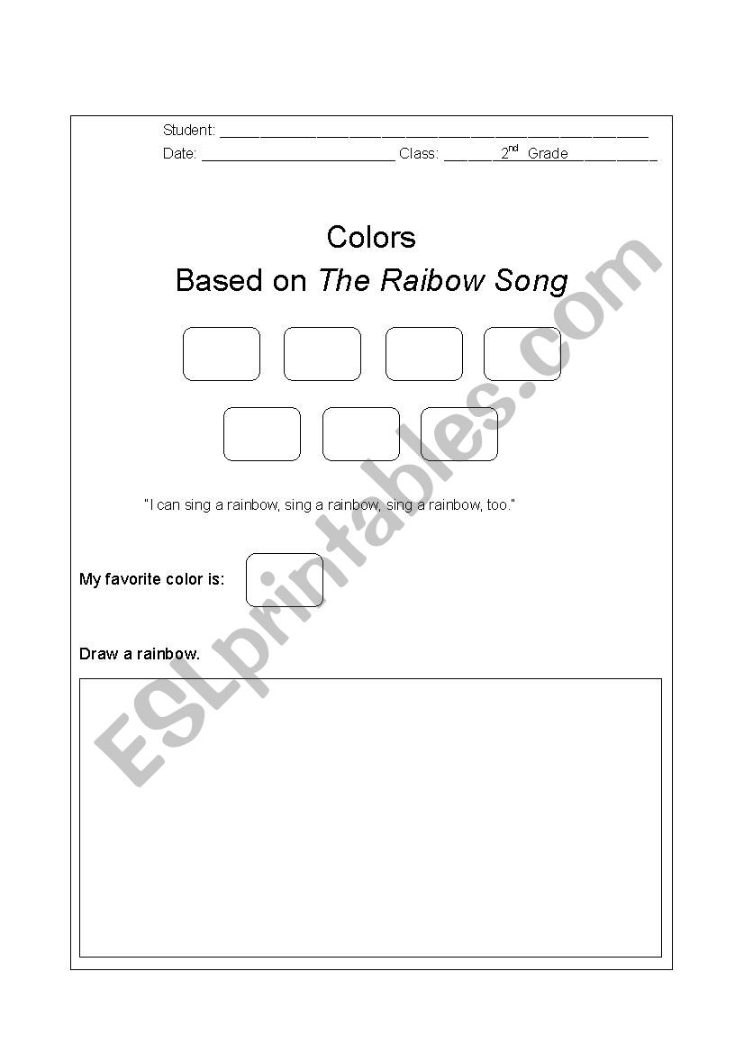 The Rainbow Song Exercise worksheet