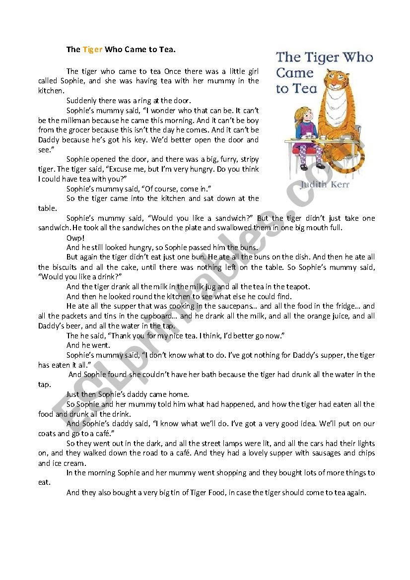 The Tiger who Came to Tea worksheet