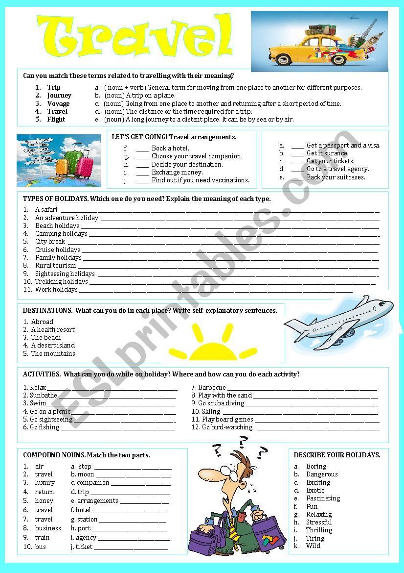 TRAVEL - ESL worksheet by pilarmham