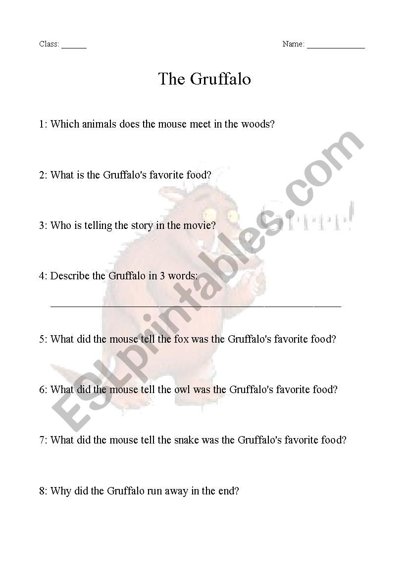 - The Gruffalo - Comprehension Questions - ESL Worksheet By Kari7245