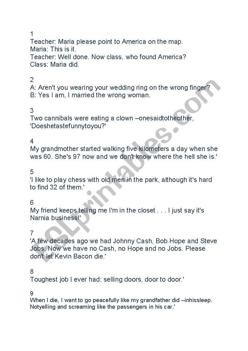 Jokes in English - ESL worksheet by adrianlincoln