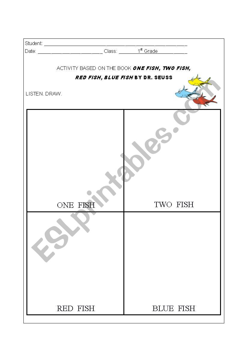 One Fish, Two Fish Activity worksheet