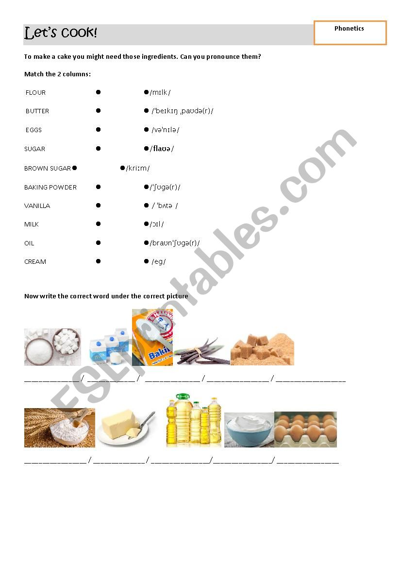 Let´s cook! worksheet