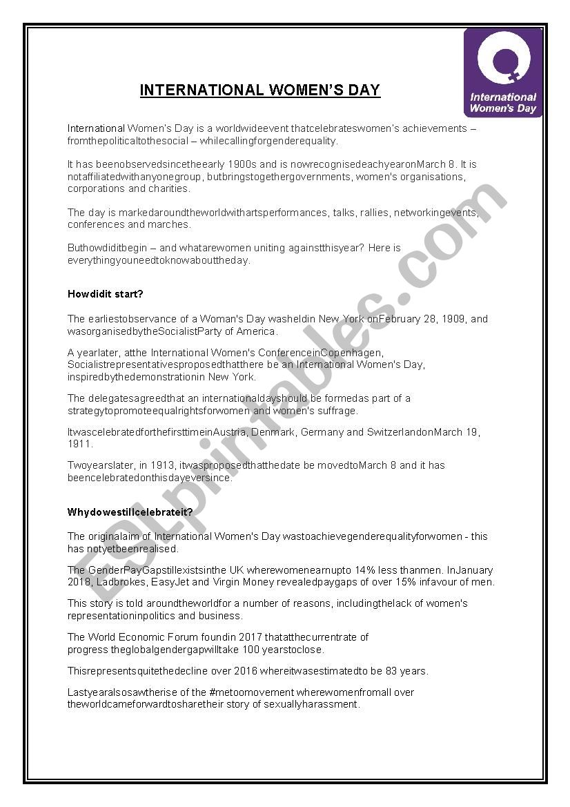 International Women´s Day worksheet