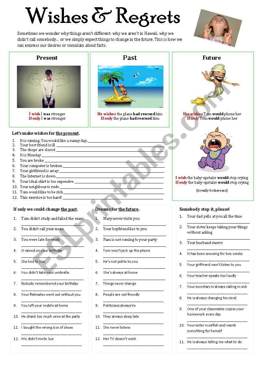 WISHES & REGRETS worksheet