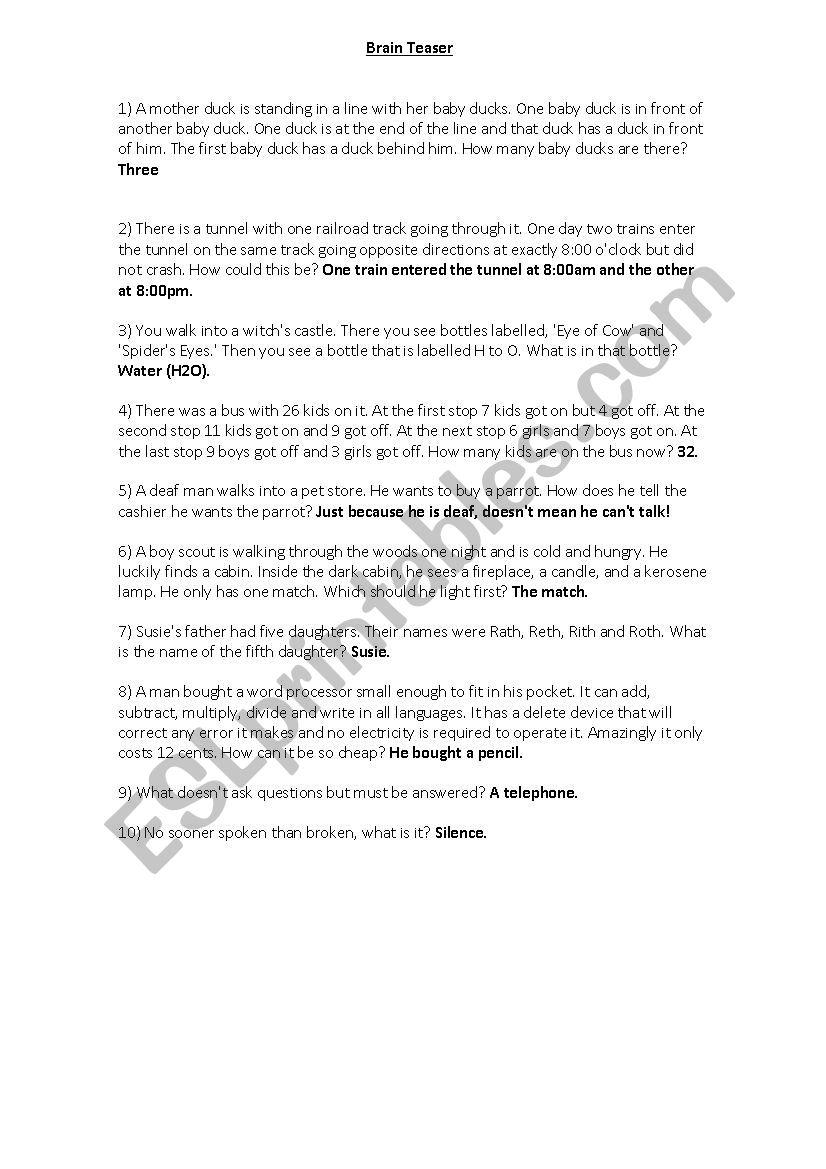 Brain Teaser with answers - ESL worksheet by ramiritoe
