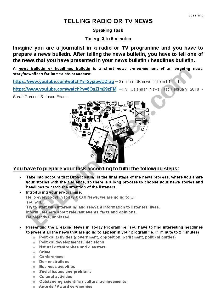 Telling the news bulletin worksheet