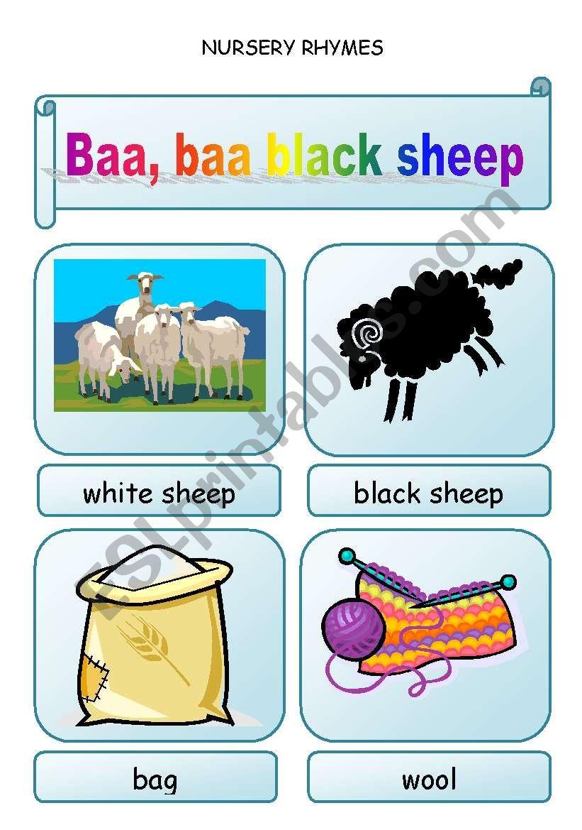 Nursery rhymes - BAA, BAA, BLACK SHEEP  - 3 pages