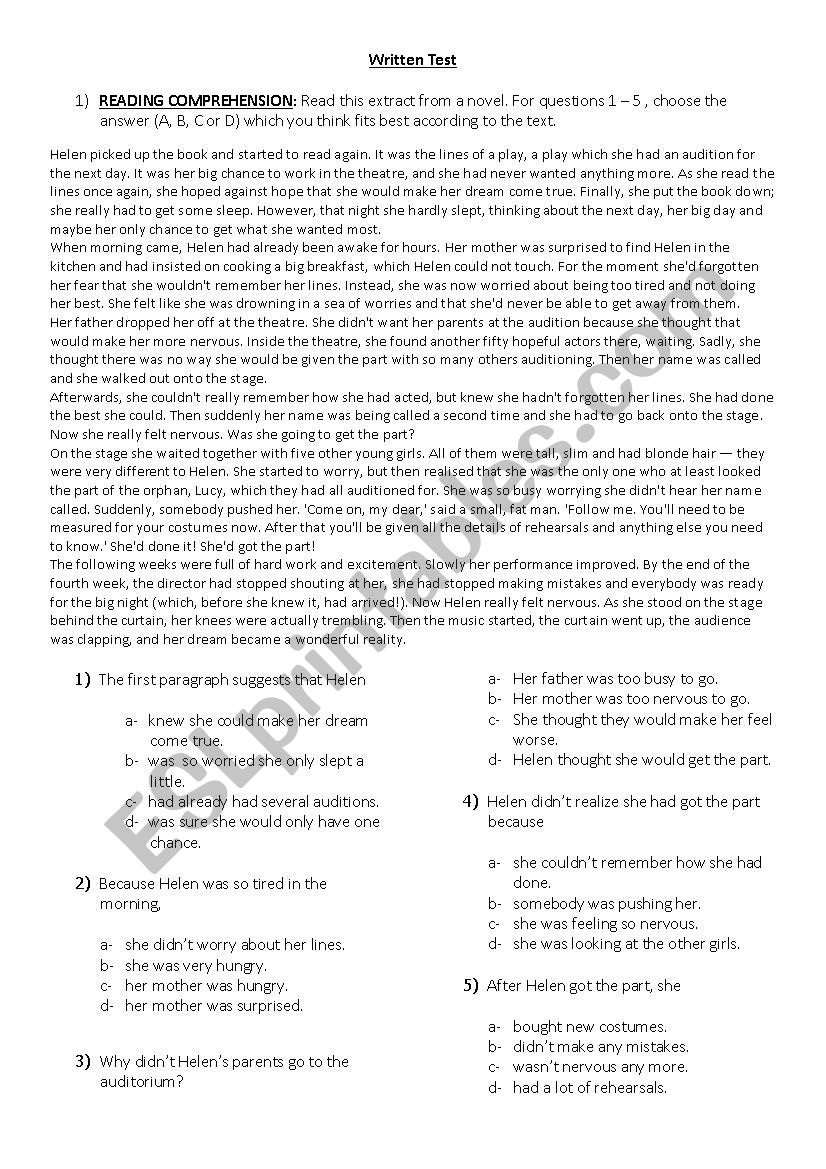 Test - Upper Intermediate level - ESL worksheet by AldanaSalazar