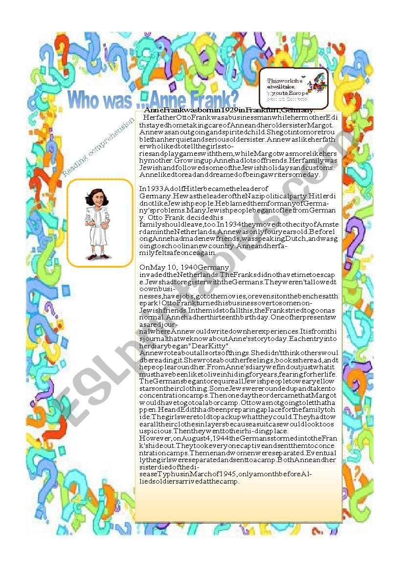 Who was Anne Frank ? worksheet