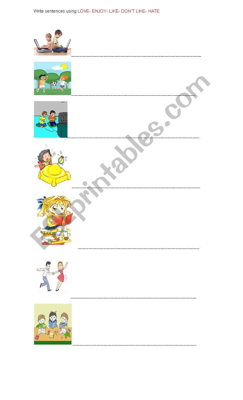LIKES AND DISLIKES worksheet
