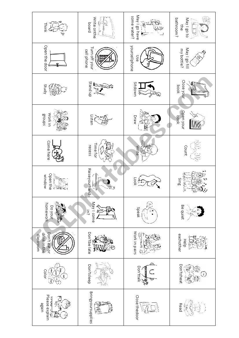 Classroom Language BINGO worksheet
