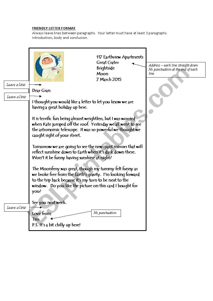 Friendly Letter Format Esl Worksheet By Bevm