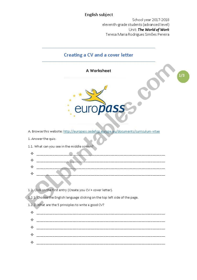 Creating A CV And A Cover Letter ESL Worksheet By Teresasimoes