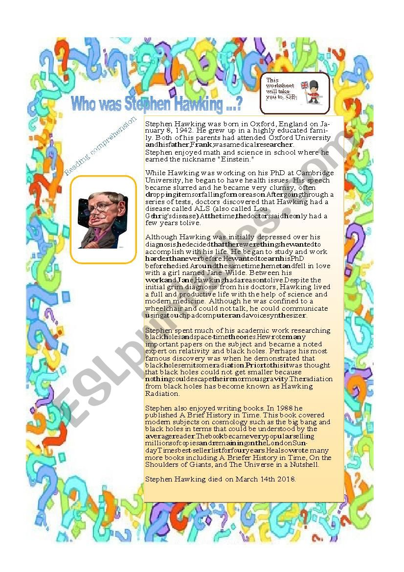 Who was Stephen Hawking ? worksheet