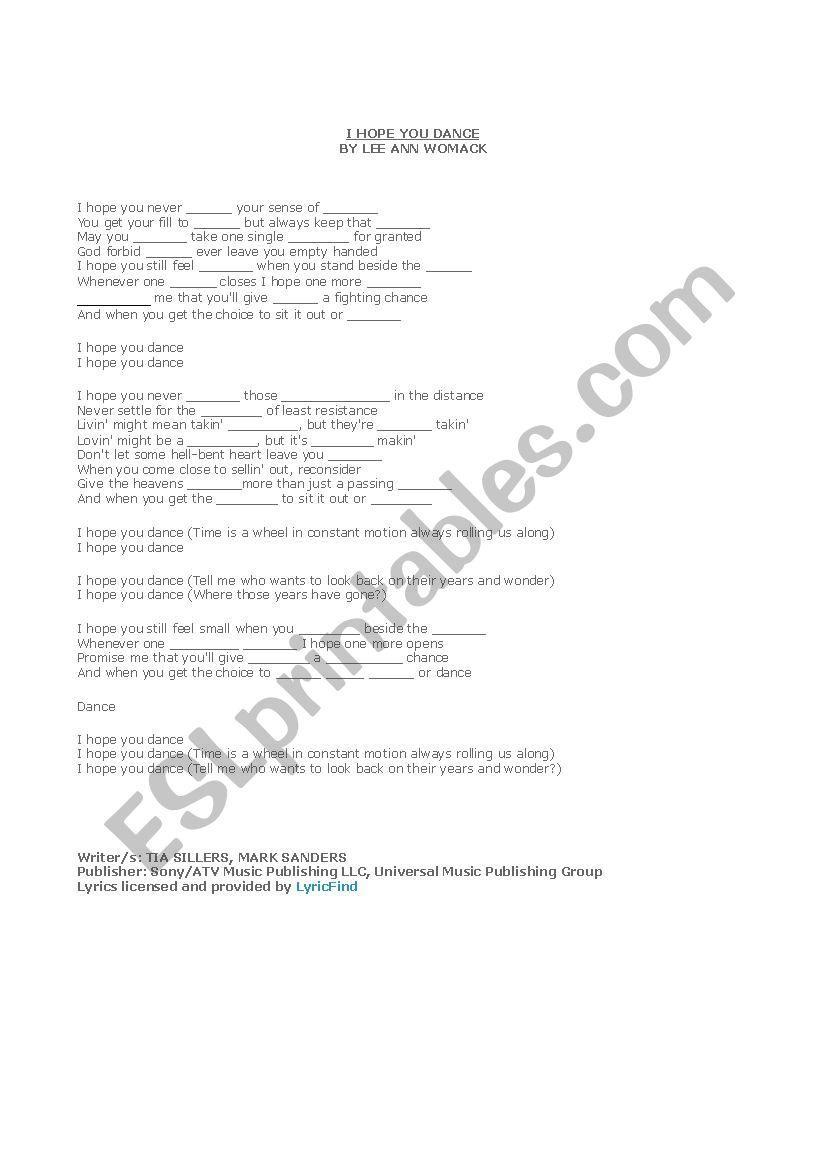 I Hope You Dance Lyrics Cloze Esl Worksheet By Cook511