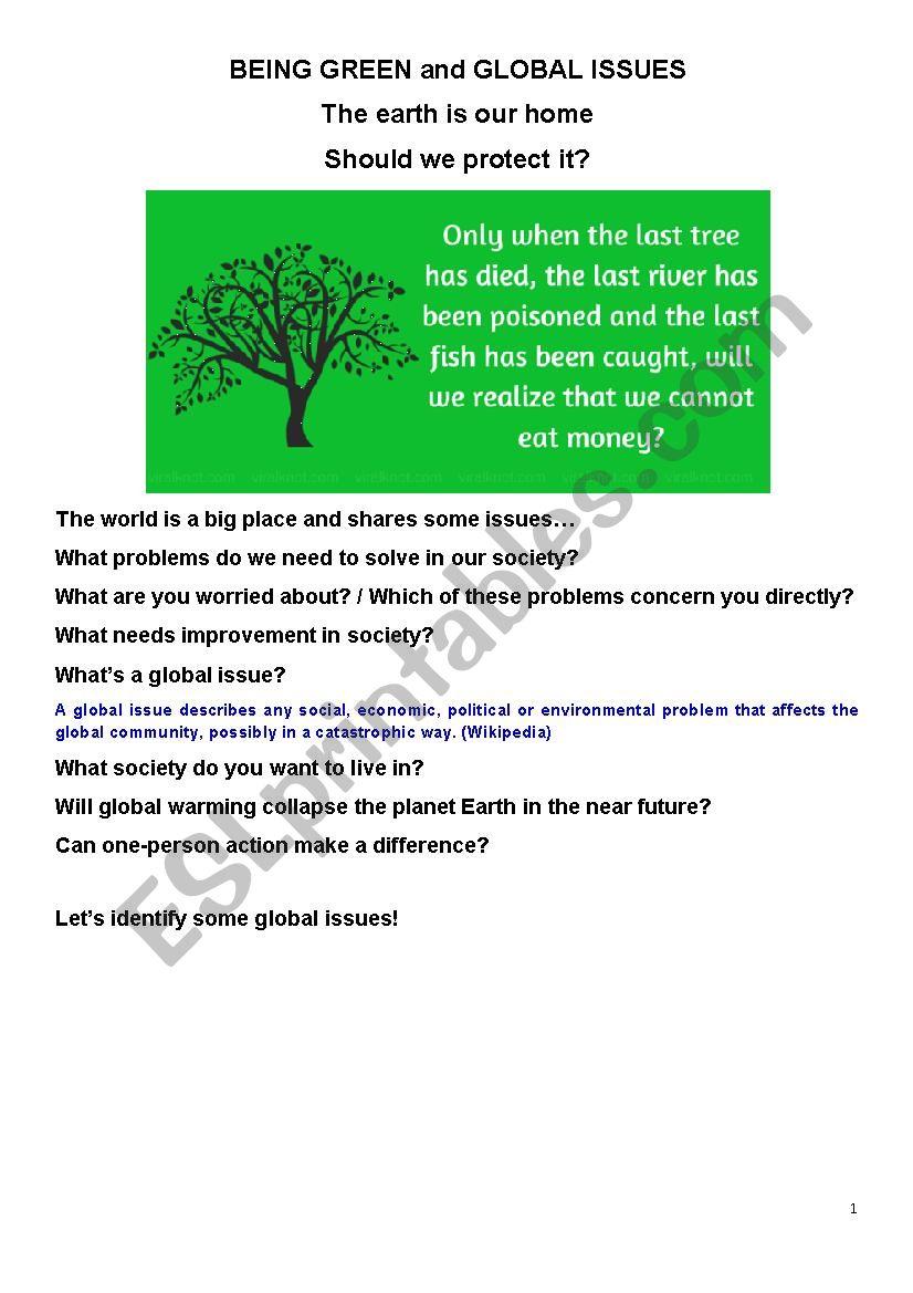 Social Issues & Being Green worksheet