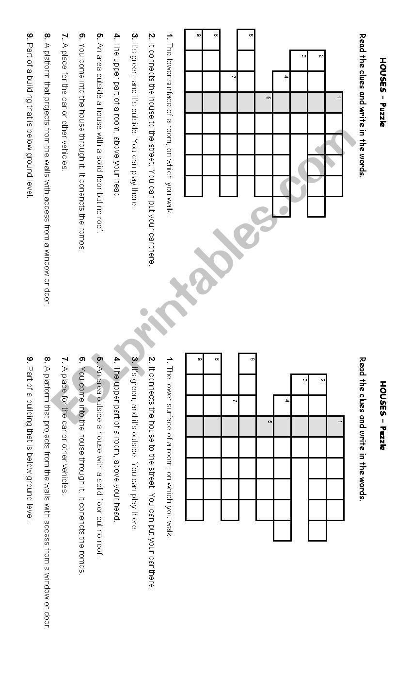 Houses - Home worksheet