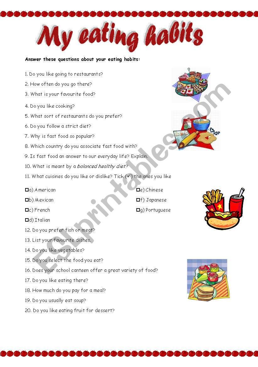My eating habits - ESL worksheet by Ana B