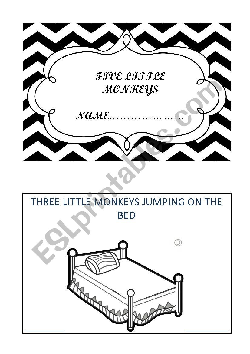 FIVE LITTLE MONKEYS MINI BOOK worksheet