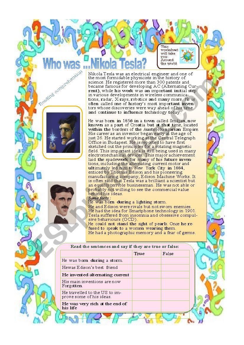 Who was Nikola Tesla ? worksheet