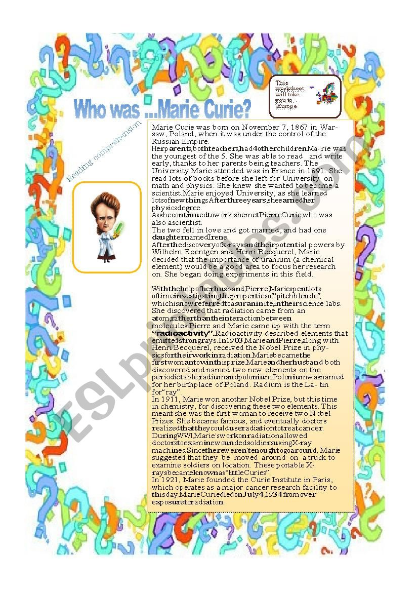 Who was Marie Curie ? worksheet