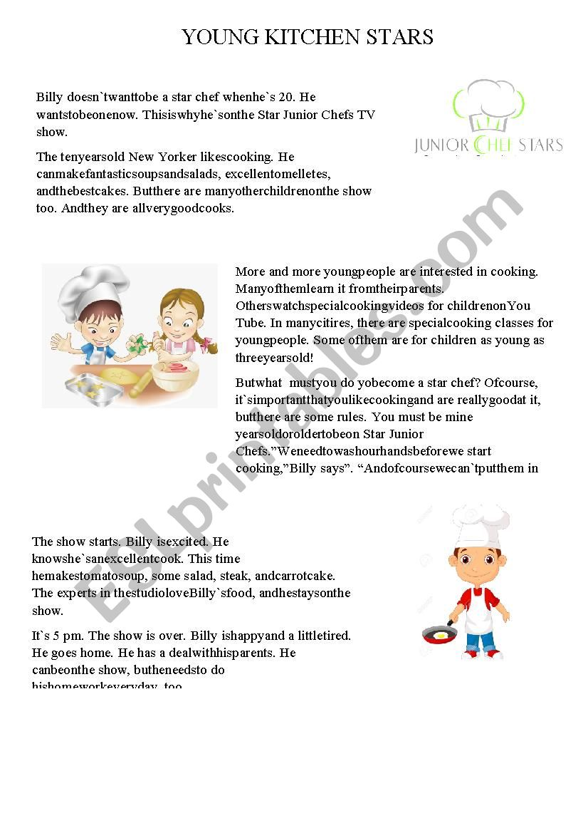 YOUNG KITCHEN STARS worksheet